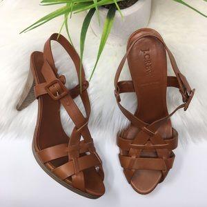 NEW J. Crew Arène leather strappy heels